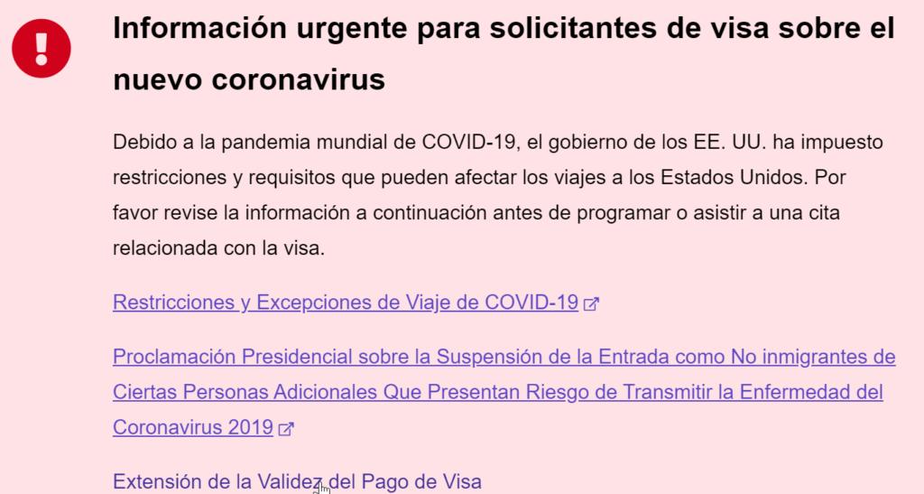 información urgente para solicitantes de visa sobre el nuevo coronavirus.